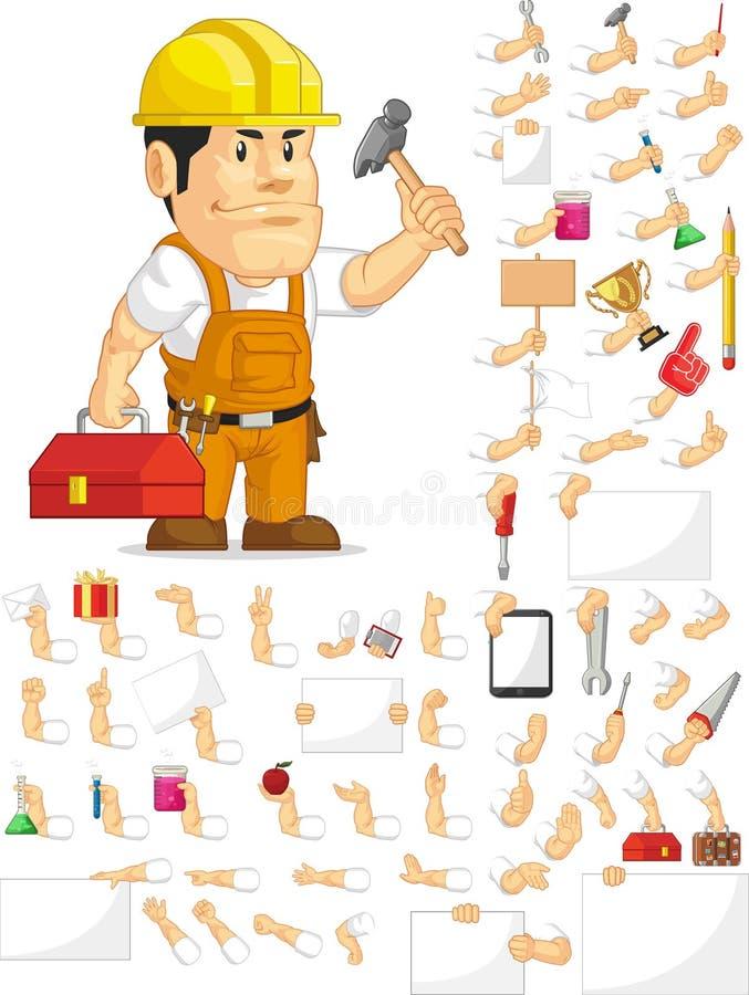 Ισχυρό σύνολο μασκότ εργατών οικοδομών εξατομικεύσιμο διανυσματική απεικόνιση