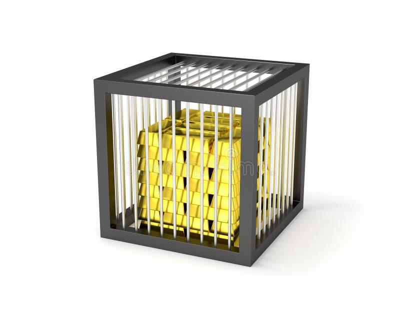 Ισχυρό χρηματοκιβώτιο με το σωρό των χρυσών φραγμών διανυσματική απεικόνιση