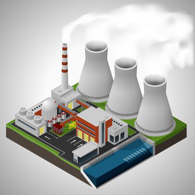 ισχύς πυρηνικών εγκαταστάσεων διανυσματική απεικόνιση