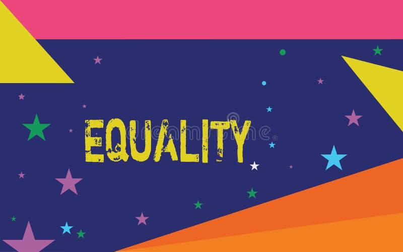 Ισότητα γραψίματος κειμένων γραφής Έννοια που σημαίνει την κατάσταση της ύπαρξης ίσος ειδικά στα δικαιώματα ή τις ευκαιρίες θέσης διανυσματική απεικόνιση