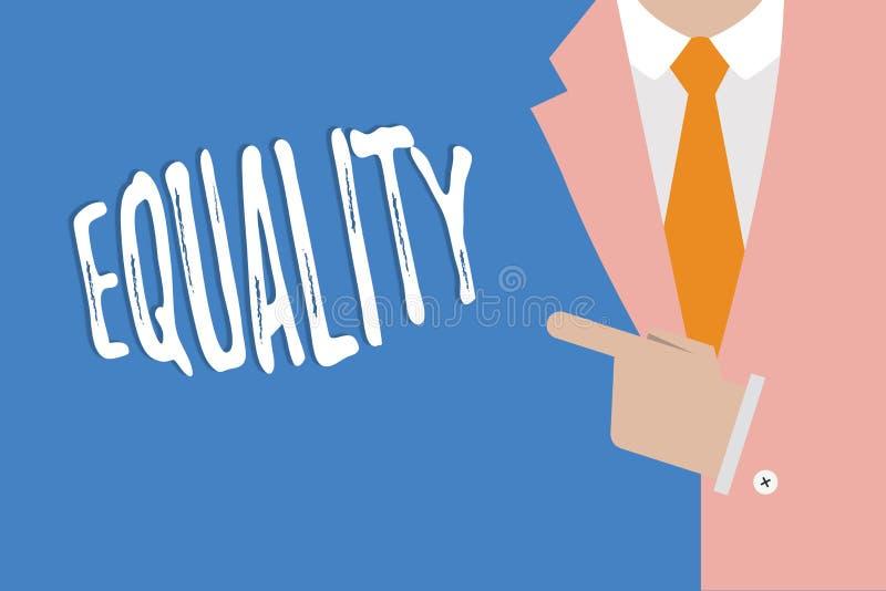 Ισότητα γραψίματος κειμένων γραφής Έννοια που σημαίνει την κατάσταση της ύπαρξης ίσος ειδικά στα δικαιώματα ή τις ευκαιρίες θέσης απεικόνιση αποθεμάτων
