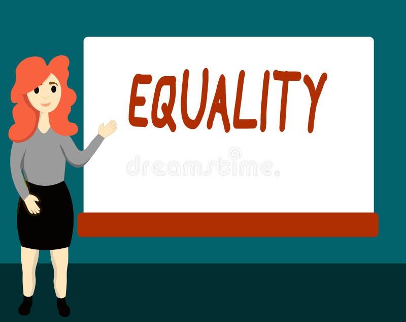Ισότητα κειμένων γραφής Έννοια που σημαίνει την κατάσταση της ύπαρξης ίσος ειδικά στα δικαιώματα ή τις ευκαιρίες θέσης ελεύθερη απεικόνιση δικαιώματος