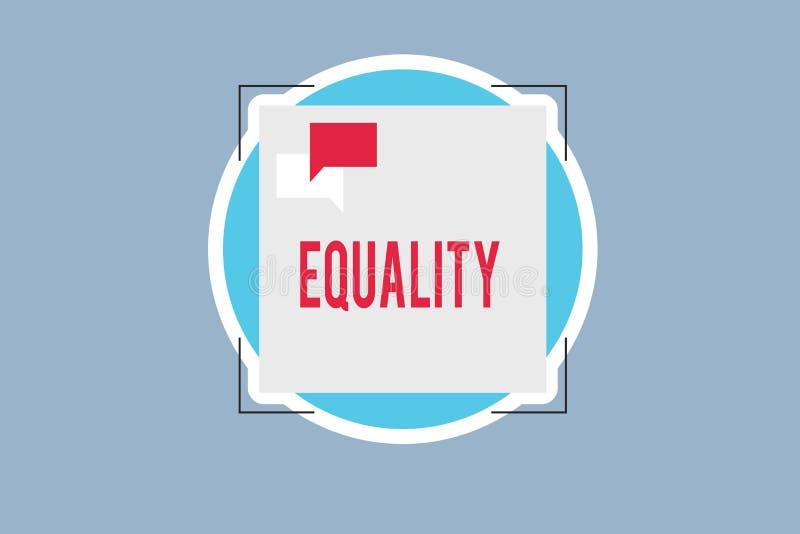 Ισότητα κειμένων γραφής Έννοια που σημαίνει την κατάσταση της ύπαρξης ίσος ειδικά στα δικαιώματα ή τις ευκαιρίες θέσης απεικόνιση αποθεμάτων