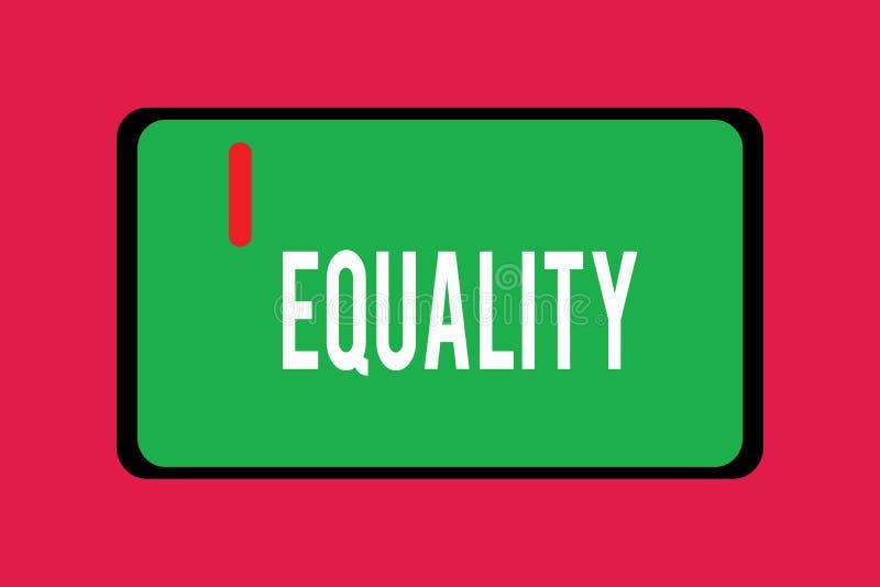 Ισότητα κειμένων γραψίματος λέξης Επιχειρησιακή έννοια για την κατάσταση της ύπαρξης ίσος ειδικά στα δικαιώματα ή τις ευκαιρίες θ ελεύθερη απεικόνιση δικαιώματος