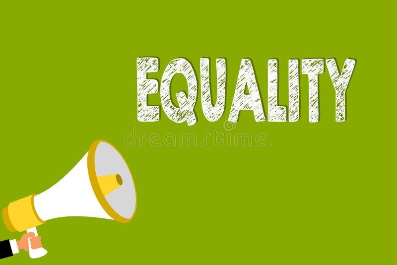 Ισότητα κειμένων γραψίματος λέξης Επιχειρησιακή έννοια για την κατάσταση της ύπαρξης ίσος ειδικά στην εκμετάλλευση ατόμων δικαιωμ απεικόνιση αποθεμάτων