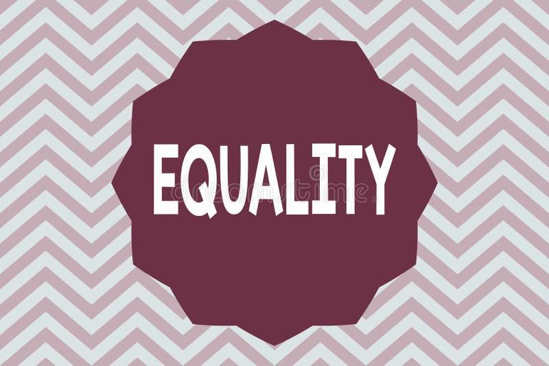 Ισότητα κειμένων γραψίματος λέξης Επιχειρησιακή έννοια για την κατάσταση της ύπαρξης ίσος ειδικά στα δικαιώματα ή τις ευκαιρίες θ διανυσματική απεικόνιση
