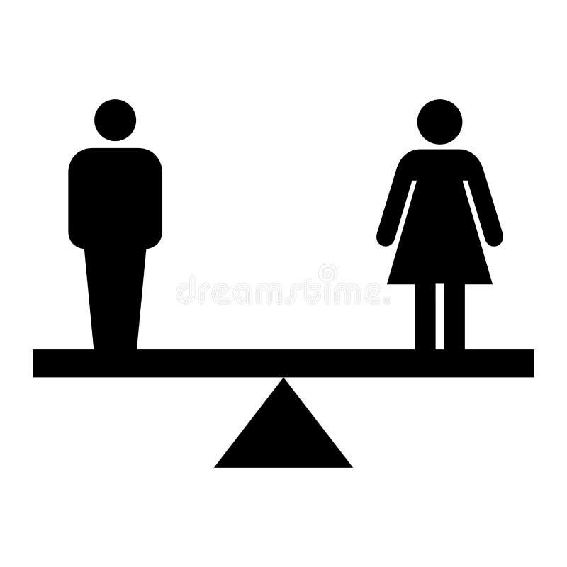 Ισότητα του συμβόλου ανδρών και γυναικών απεικόνιση αποθεμάτων