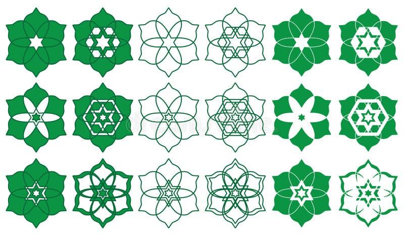 Ισλάμ έξι αστέρια έξι Ramadan σύνολο σημαδιών πετάλων ελεύθερη απεικόνιση δικαιώματος