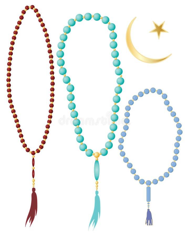 Ισλαμικές χάντρες προσευχής διανυσματική απεικόνιση
