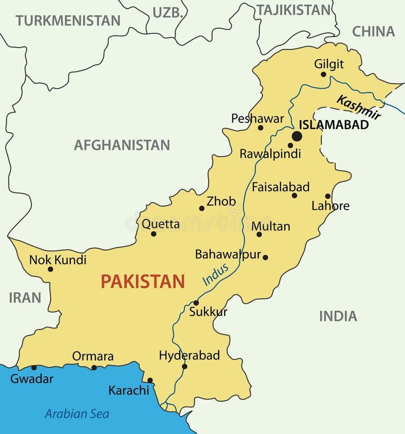 Ισλαμική Δημοκρατία του Πακιστάν - χάρτης διανυσματική απεικόνιση