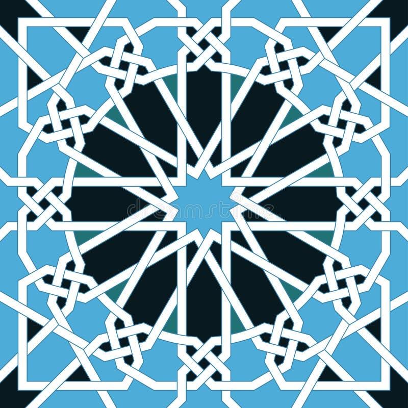 Ισλαμικό άνευ ραφής σχέδιο Ασιατικές γεωμετρικές διακοσμήσεις, παραδοσιακή αραβική τέχνη Μουσουλμανικό μωσαϊκό Στοιχείο διακοσμήσ ελεύθερη απεικόνιση δικαιώματος