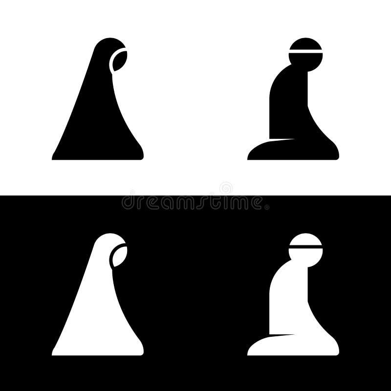 Ισλαμικό εικονίδιο λογότυπων συμβόλων σημαδιών περιοχής δωματίων προσευχής διανυσματική απεικόνιση