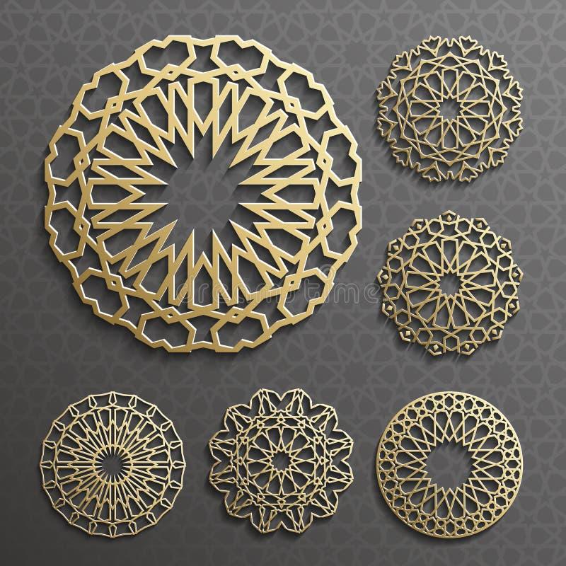 Ισλαμικό διανυσματικό, περσικό motiff διακοσμήσεων τρισδιάστατα ramadan στρογγυλά στοιχεία σχεδίων Γεωμετρικό σύνολο προτύπων λογ διανυσματική απεικόνιση