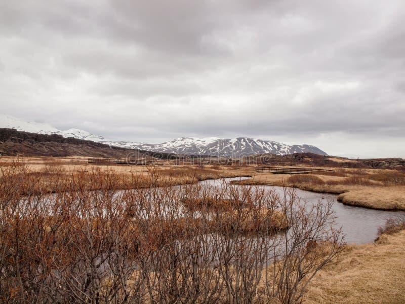Ισλανδία, το Μάρτιο του 2015: τραχιά φύση στοκ φωτογραφία