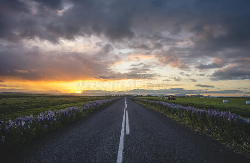 Ισλανδικός δρόμος στοκ εικόνες με δικαίωμα ελεύθερης χρήσης