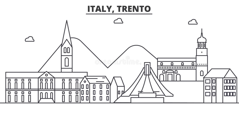 Ιταλία, απεικόνιση οριζόντων γραμμών αρχιτεκτονικής Trento Γραμμική διανυσματική εικονική παράσταση πόλης με τα διάσημα ορόσημα,  διανυσματική απεικόνιση