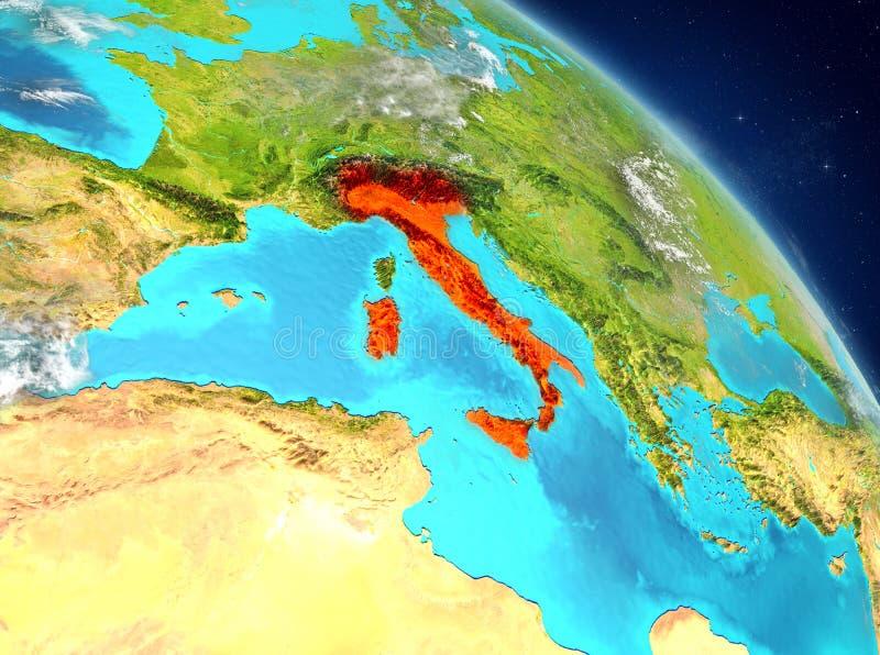Ιταλία από την τροχιά στοκ εικόνα με δικαίωμα ελεύθερης χρήσης