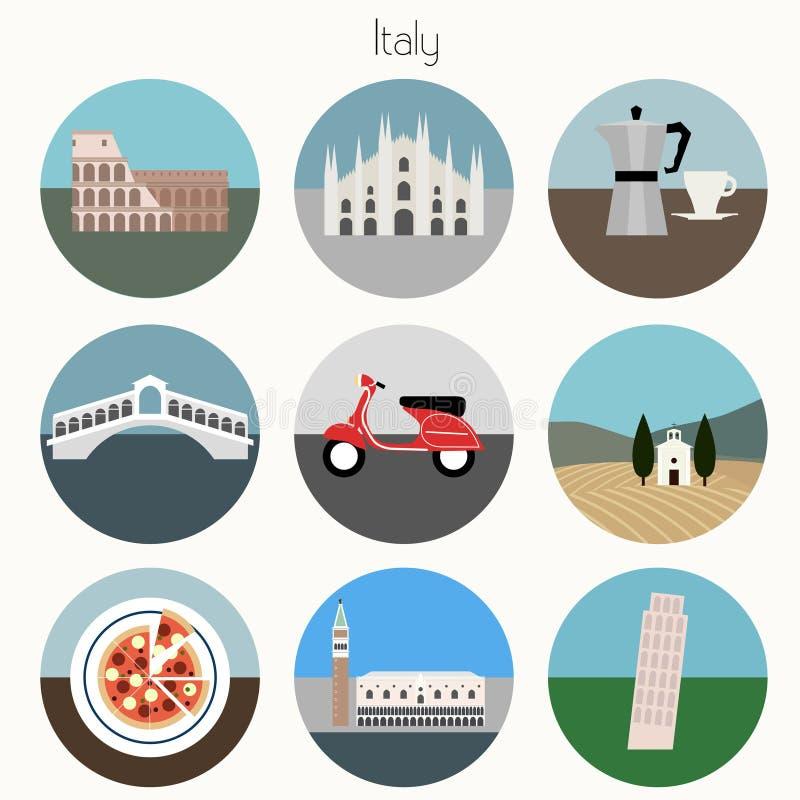 Ιταλία - εικονίδια ορόσημων καθορισμένα - ελεύθερη απεικόνιση δικαιώματος