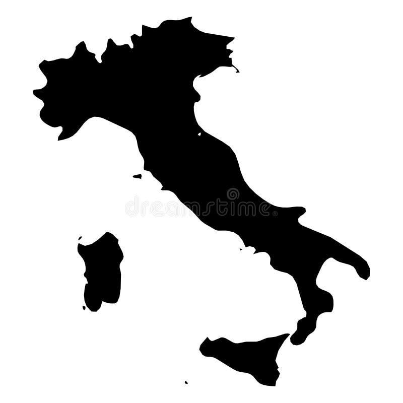 Ιταλία - στερεός μαύρος χάρτης σκιαγραφιών της περιοχής χωρών Απλή επίπεδη διανυσματική απεικόνιση απεικόνιση αποθεμάτων