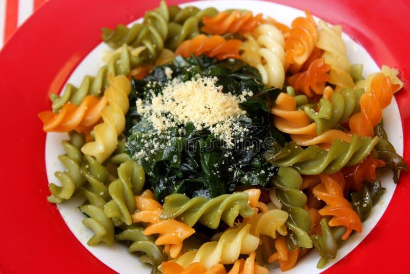 Ιταλικά ζυμαρικά με το σπανάκι στοκ φωτογραφία με δικαίωμα ελεύθερης χρήσης