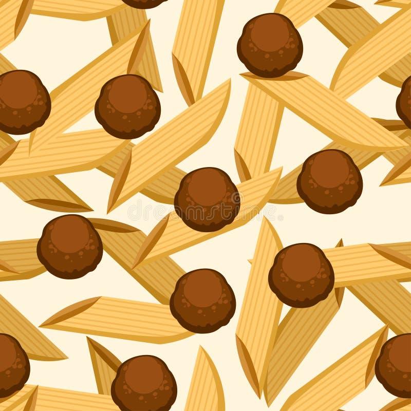 Ιταλικά ζυμαρικά τροφίμων penne με τα κεφτή r E Σελίδα ιστοχώρου και κινητός διανυσματική απεικόνιση