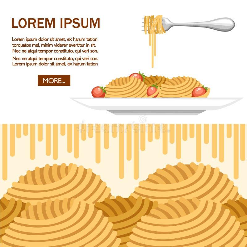 Ιταλικά μακαρόνια ζυμαρικών τροφίμων με τις ντομάτες Ζυμαρικά μακαρονιών με τις ντομάτες στο άσπρο πιάτο Επίπεδη απεικόνιση στο λ διανυσματική απεικόνιση