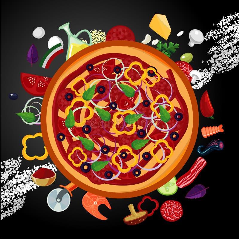 Ιταλικά συστατικά πιτσών στο σκοτεινό backround Τοπ άποψη, διανυσματικό έμβλημα Ύφος κινούμενων σχεδίων απεικόνιση αποθεμάτων