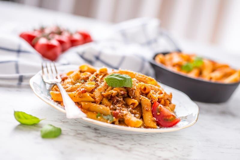 Ιταλικά τρόφιμα και ζυμαρικά pene με το από τη Μπολώνια sause στο πιάτο στοκ φωτογραφία με δικαίωμα ελεύθερης χρήσης