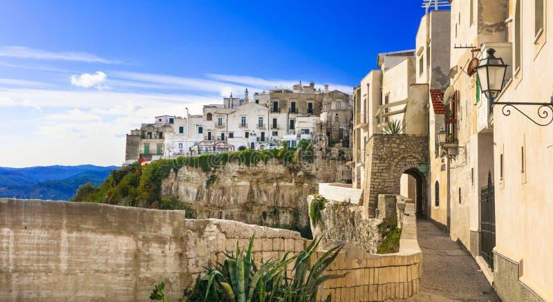 Ιταλικές καλοκαιρινές διακοπές στην Πούλια - γραφική παραλιακή πόλη Vieste Νότος της Ιταλίας στοκ εικόνες