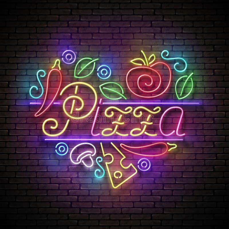 Ιταλική πινακίδα καρδιών πιτσών διανυσματική απεικόνιση