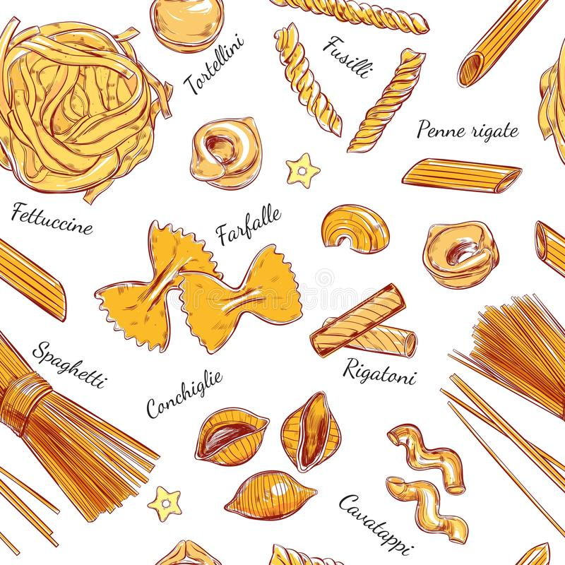 Ιταλικοί διαφορετικοί τύποι σχεδίων ζυμαρικών άνευ ραφής ζυμαρικών Διανυσματική συρμένη χέρι απεικόνιση Αντικείμενα στο λευκό ζωη απεικόνιση αποθεμάτων
