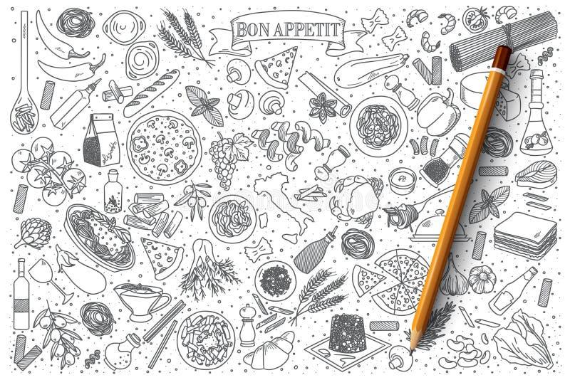 Ιταλικό διανυσματικό σύνολο τροφίμων doodle στοκ εικόνα