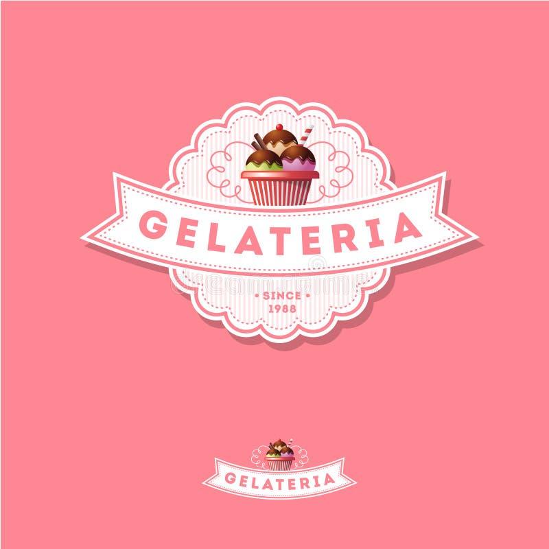 Ιταλικό λογότυπο παγωτού ρόδινο σημάδι Έμβλημα με την κορδέλλα και το παγωτό διανυσματική απεικόνιση