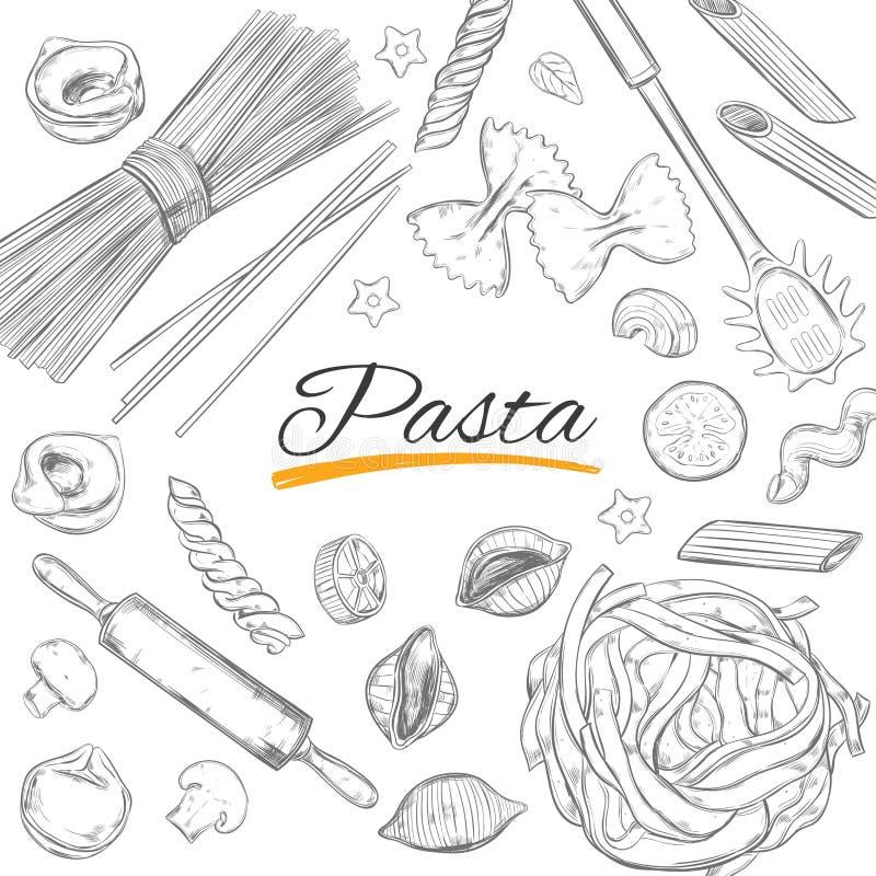 Ιταλικό πλαίσιο ζυμαρικών Διαφορετικοί τύποι ζυμαρικών Διανυσματική συρμένη χέρι απεικόνιση Αντικείμενα στο λευκό ελαφρύ ύφος σκί διανυσματική απεικόνιση