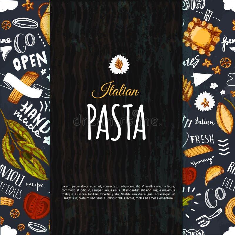 Ιταλικό σχέδιο επιλογών ζυμαρικών για το εστιατόριο και τον καφέ Πρότυπο με συρμένο σχέδιο μακαρονιών σκίτσων το χέρι στο σκοτειν ελεύθερη απεικόνιση δικαιώματος