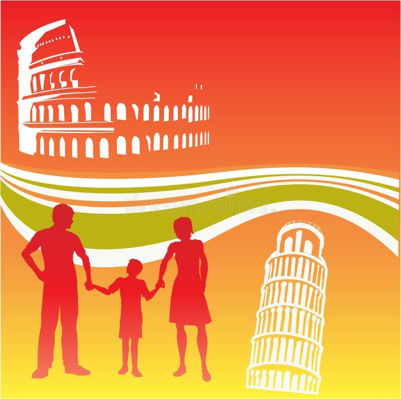 ιταλικό ταξίδι οικογενειακών ιπτάμενων απεικόνιση αποθεμάτων