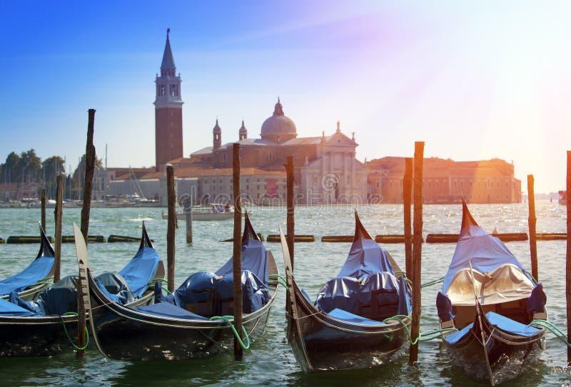 Ιταλία Βενετία Γόνδολες στο κανάλι Grande στοκ φωτογραφίες