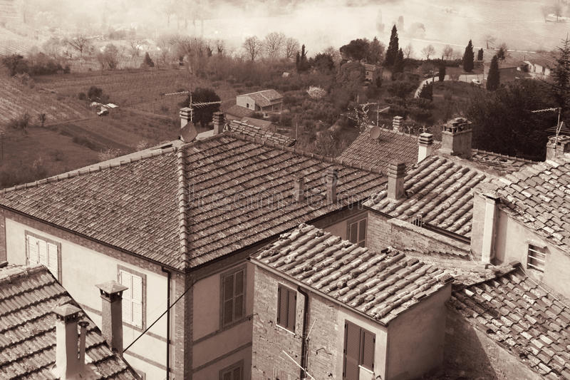 Ιταλία πόλη Τοσκάνη περιοχών της Ιταλίας cortona Montepulciano Στη σέπια που τονίζεται Αναδρομικό styl στοκ φωτογραφία