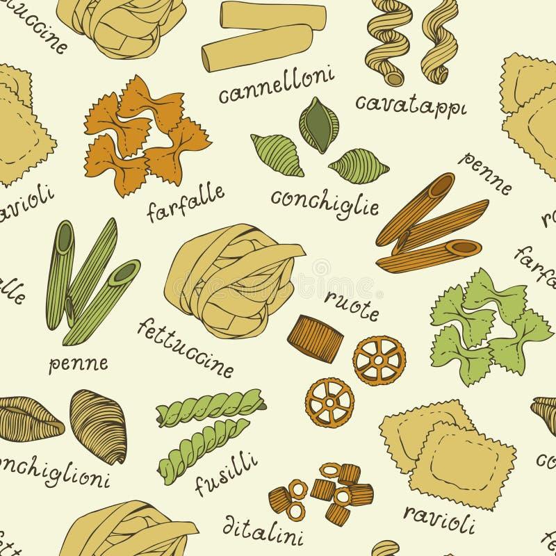Ιταλικό σχέδιο ζυμαρικών σε ένα μπεζ υπόβαθρο ελεύθερη απεικόνιση δικαιώματος