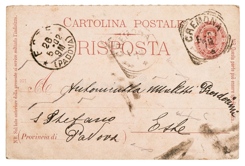 Ιταλική χειρόγραφη επιστολή καρτών στοκ φωτογραφία με δικαίωμα ελεύθερης χρήσης