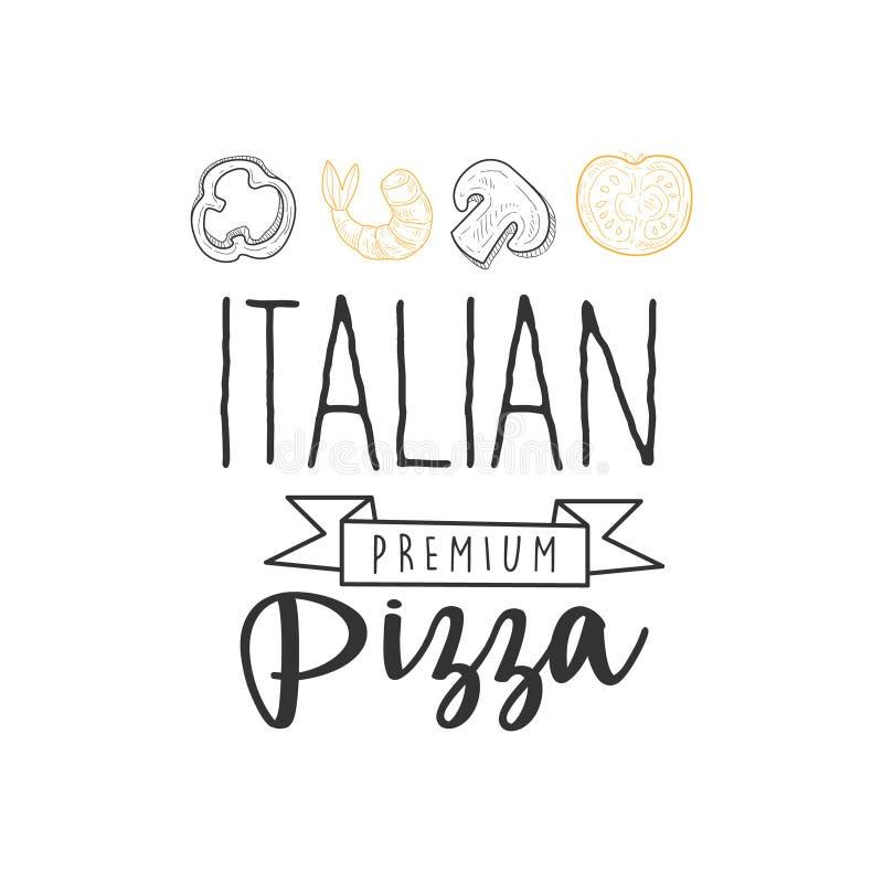 Ιταλικό σημάδι προώθησης επιλογών καφέδων οδών γρήγορου φαγητού πιτσών εξαιρετικής ποιότητας κορδελλών, μανιταριών, ντοματών, πιπ ελεύθερη απεικόνιση δικαιώματος