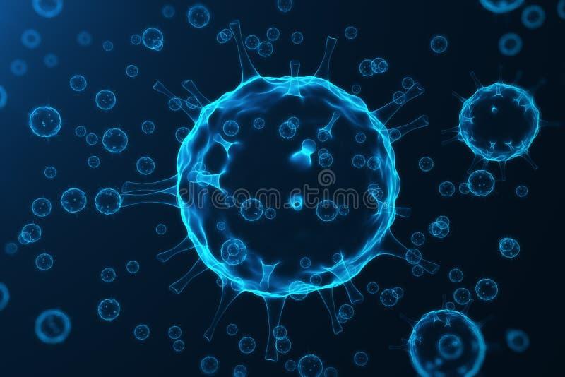 Ιός και μικρόβια, βακτηρίδια, μολυσμένος κύτταρο οργανισμός Ιός της γρίπης H1N1, γρίπη χοίρων στο αφηρημένο υπόβαθρο Μπλε ιοί απεικόνιση αποθεμάτων