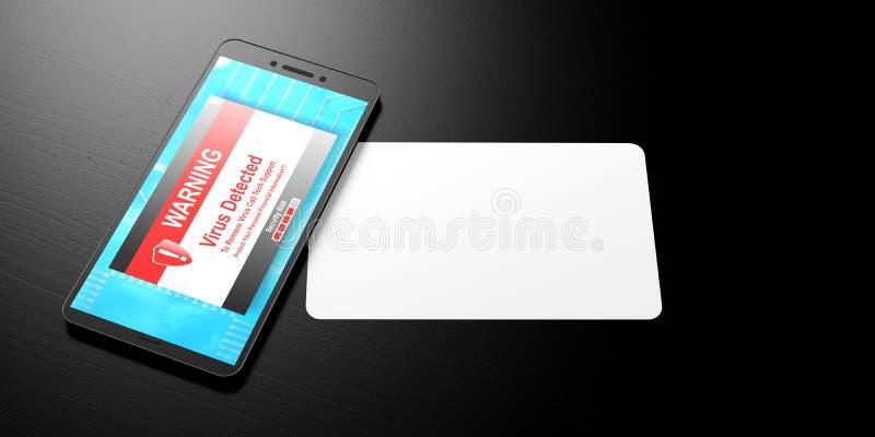 Ιός που ανιχνεύεται σε μια οθόνη smartphone και τη Λευκή Βίβλο για ένα μαύρο υπόβαθρο, έμβλημα, διάστημα αντιγράφων τρισδιάστατη  απεικόνιση αποθεμάτων