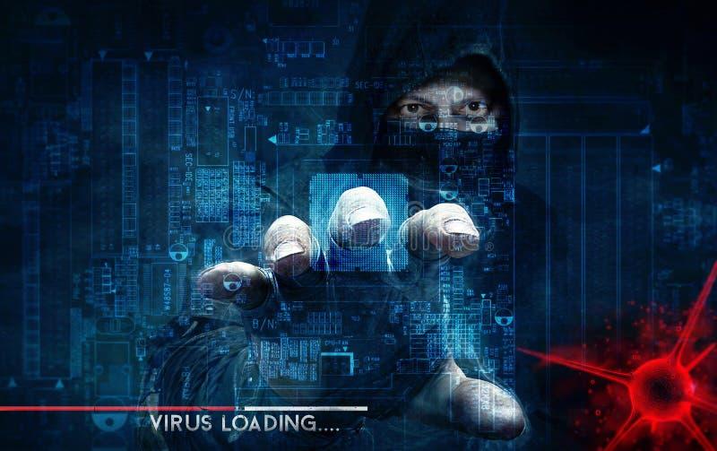 Ιός χάκερ και υπολογιστών - έννοια στοκ εικόνα με δικαίωμα ελεύθερης χρήσης