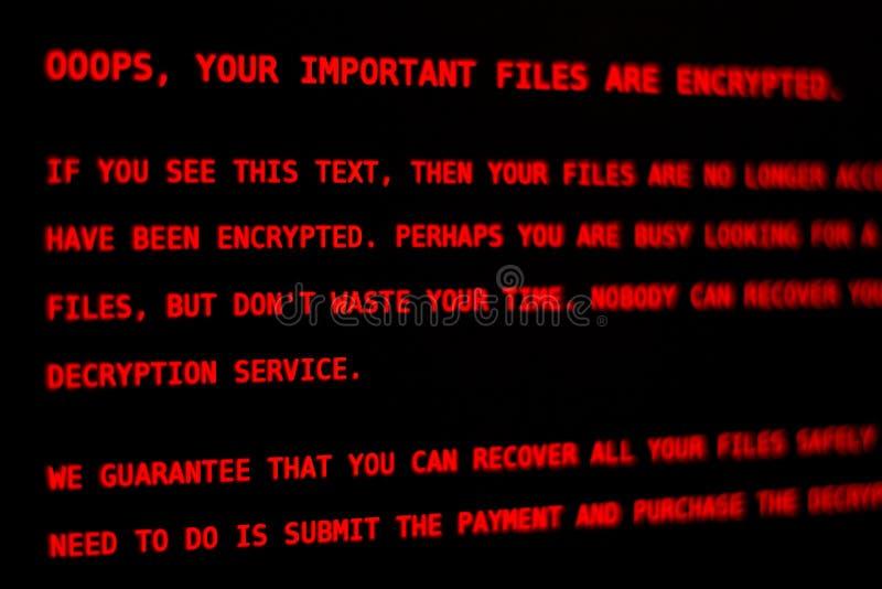 Ιός Petya υπολογιστών ? Οθόνη κλειδαριών στοκ φωτογραφίες με δικαίωμα ελεύθερης χρήσης