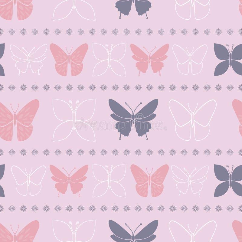 Ιώδες άνευ ραφής σχέδιο ανοίξεων πεταλούδων διανυσματική απεικόνιση