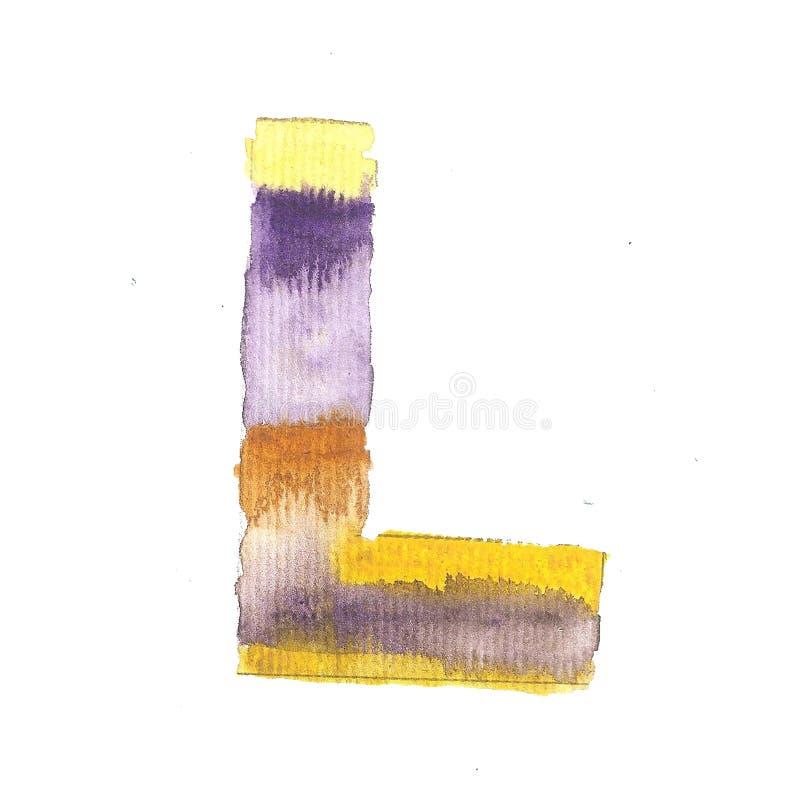 Ιώδες γράμμα Λ watercolor Χέρι που χρωματίζεται κεφάλαιο ελεύθερη απεικόνιση δικαιώματος