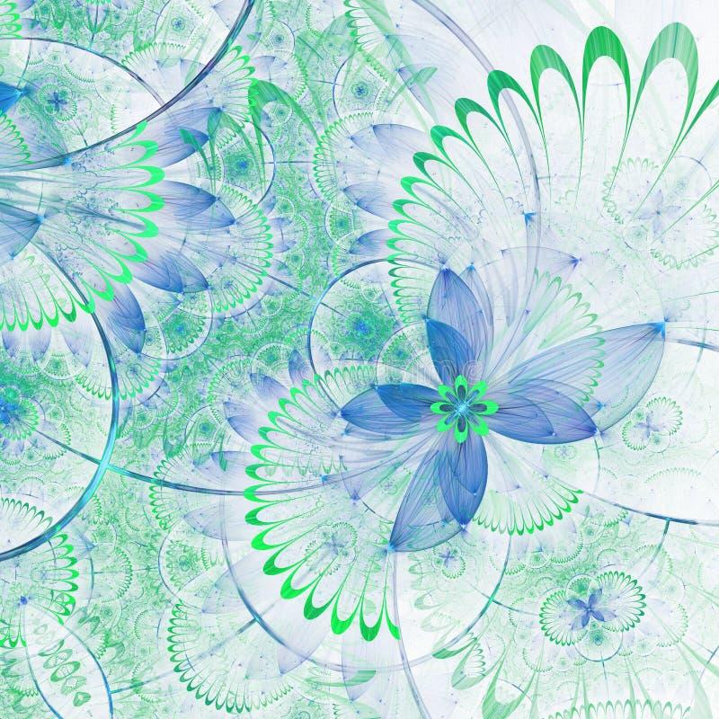 Ιώδες και μπλε fractal λουλούδι διανυσματική απεικόνιση
