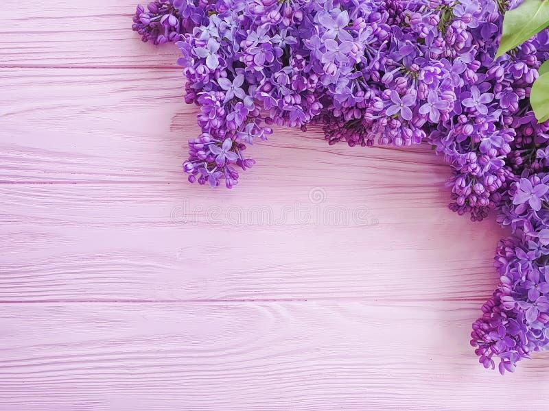 Ιώδες ντεκόρ ανθοδεσμών λουλουδιών στο ρόδινο ξύλινο πλαίσιο υποβάθρου στοκ φωτογραφία