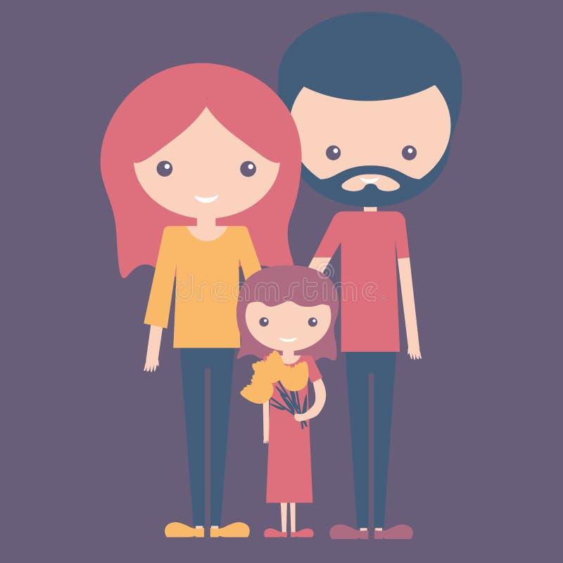 Ιώδης έννοια χρώματος του νέων ευτυχών οικογενειακών mom μπαμπά και της κόρης διανυσματική απεικόνιση